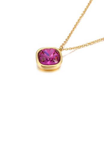 Glamorousky purple Simple Personality Plated Gold Geometric Square Purple Cubic Zirconia 316L Stainless Steel Pendant with Necklace 62B65ACCCE85F5GS_1