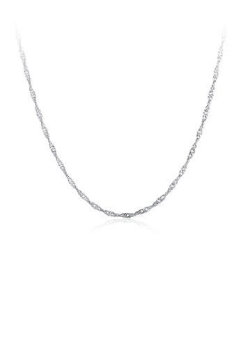 Glamorousky silver Fashion Simple Plated Platinum Water Wave Necklace 86C8EAC4F4976DGS_1