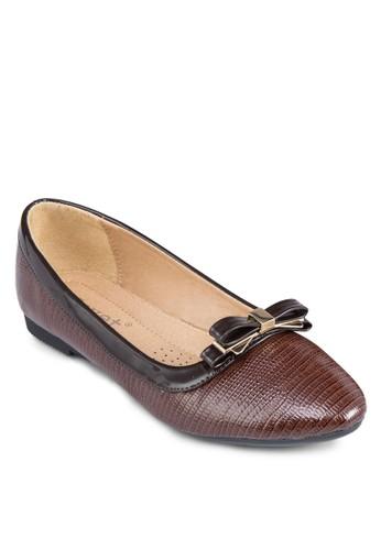 壓紋蝴蝶結平底鞋, 女鞋, 芭蕾zalora 心得平底鞋