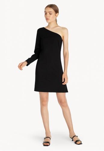 Pomelo black Mini One Shoulder Stright Dress - Black 63642AAE7659AAGS_1