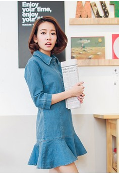 [OB] Mid Sleeve Button Up Demin Dress