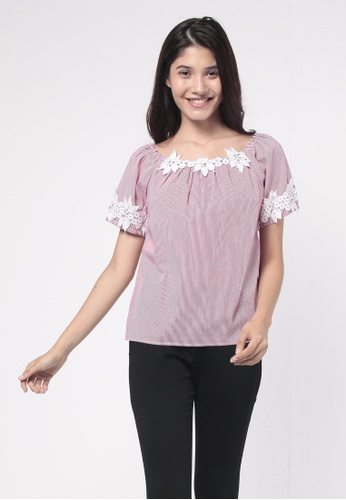 NE Double S red Round Neckline Short Sleeve Trim With Lace Patchwork Blouse 3F74FAA1D71562GS_1