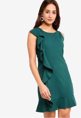 ZALORA green Ruffle Drop Hem Dress 71579AA6360AD2GS_1