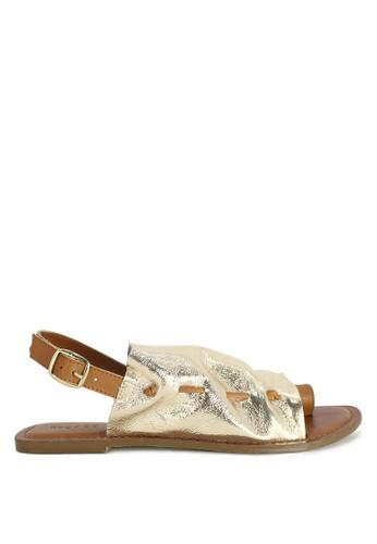 RAG & CO gold Fran Back Strap Flat Sandal 631F0SHB968053GS_1