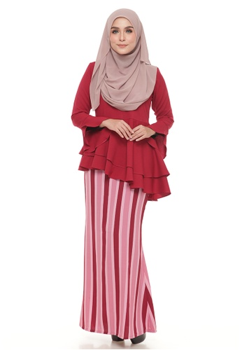 Peplum Lenny (Maroon) from Ms.Husna Apparel in Red