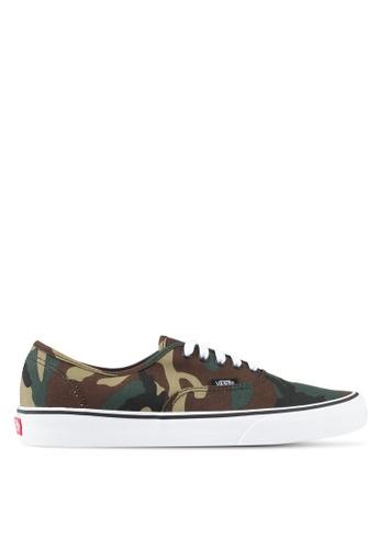 VANS green Authentic Woodland Camo Sneakers VA142SH0SBPMMY_1