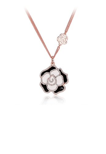 Glamorousky white Elegant Plated Rose Gold Rose Pendant with Austrian Element Crystal and Necklace 18EA1ACEA69777GS_1