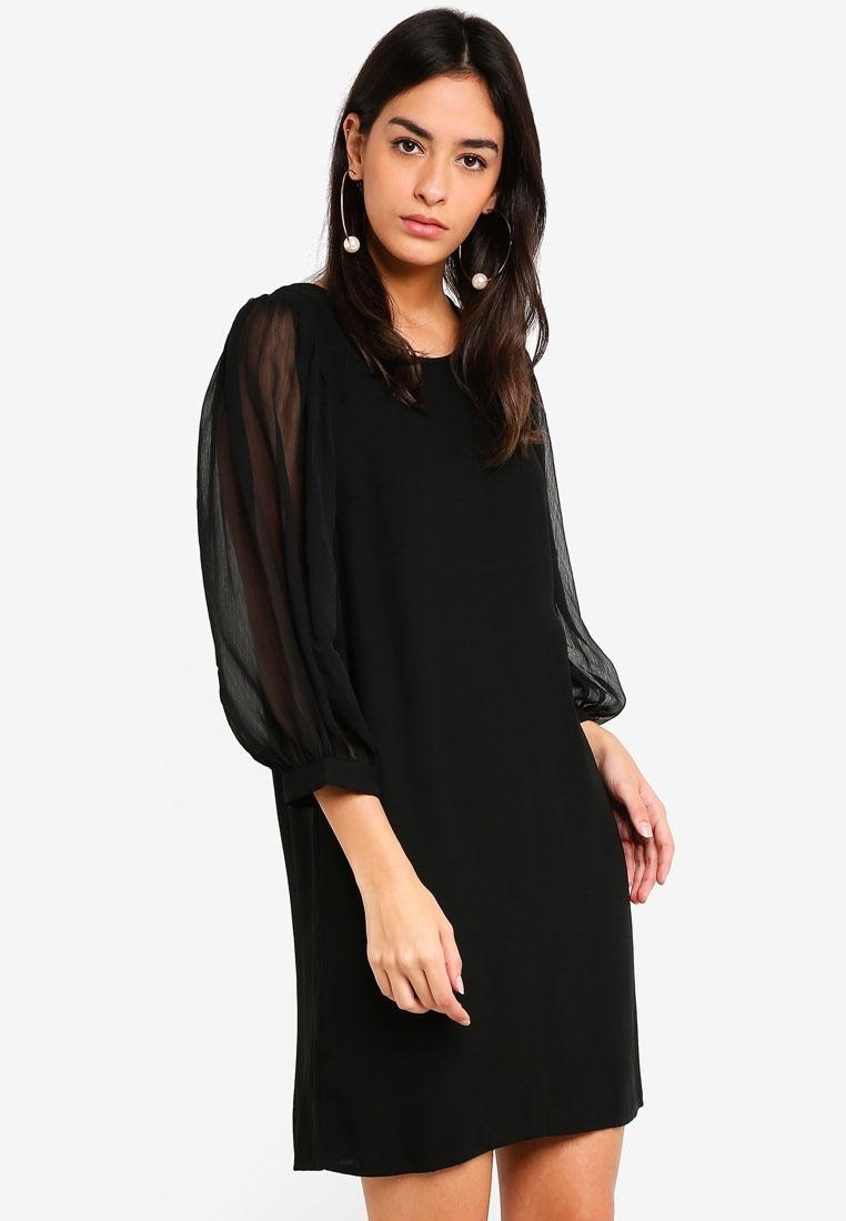 4 Vero Short neck 3 Moda O Gabby Black Dress qvnfBxtnwz