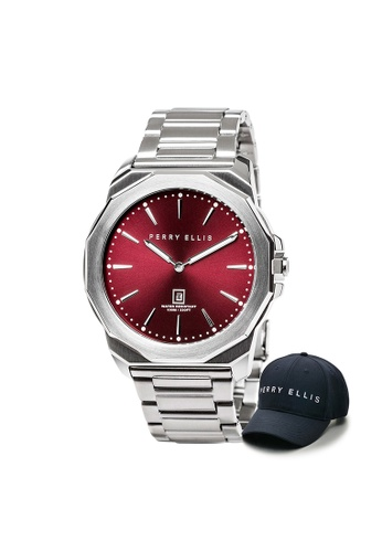 Perry Ellis red and silver Perry Ellis Decagon Men 46mm Quartz Stainless Steel Watch 05004-02 with Perry Ellis Cap 45326ACFD7D503GS_1