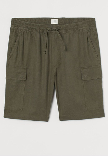 H&M green Cargo Shorts F2A54AA5E73C8DGS_1