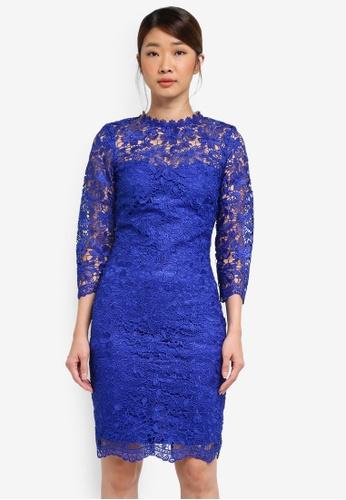 Paper Dolls blue Crochet Lace High Neck Dress D80A3AADB73C3FGS_1