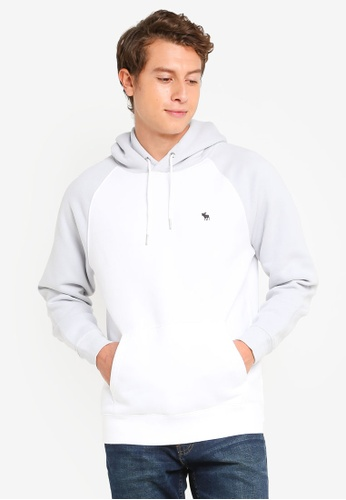 Abercrombie & Fitch grey and white Icon Pullover Hoodie F53F8AAFAB69C1GS_1