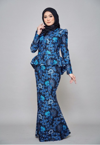 ROSSA COLLECTIONS black and white and navy CHYARA 3.0 - Batik Peplum Afia for Lady 4FC5CAAA09F186GS_1