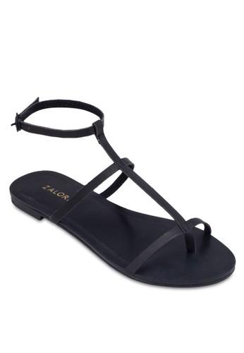 T 字細帶繞踝平底涼鞋, 女鞋zalora退貨, 鞋