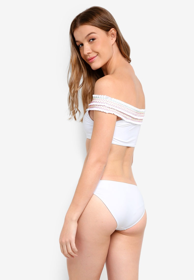 Bardot Beach White Contrast Shirred Bikini South White Stitch fqXwU