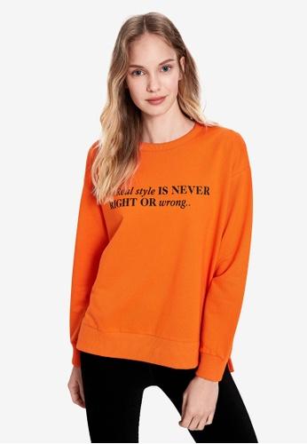 LC Waikiki orange Slogan Printed Sweatshirt 94F6BAA76D7D6AGS_1