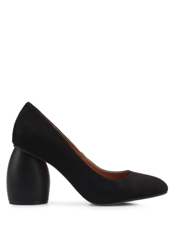 ZALORA 黑色 經典麂皮粗跟高跟鞋 D047CSH99B0C75GS_1