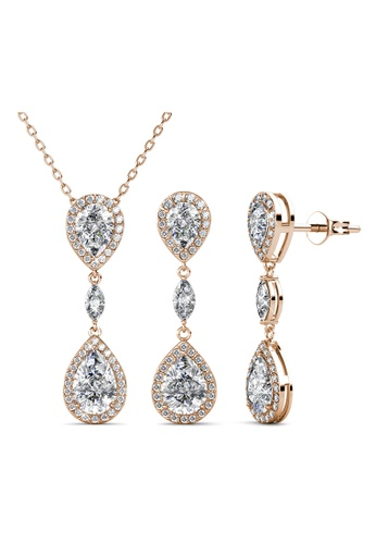 Her Jewellery gold Layla Drop Set (Rose Gold) - Made with premium grade crystals from Austria 59922ACC461DD3GS_1