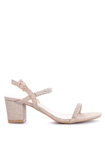 1416532c8 Shop Rock Rose Strass Block Heel Sandals Online on ZALORA Philippines