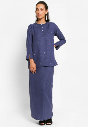 Kurung Nalia in Navy Blue from BETTY HARDY in Blue