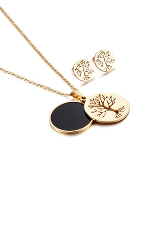 Glamorousky silver Fashion Simple Plated Gold Tree Of Life Geometric Round 316L Stainless Steel Necklace and Stud Earring Set 148DEACD812467GS_1