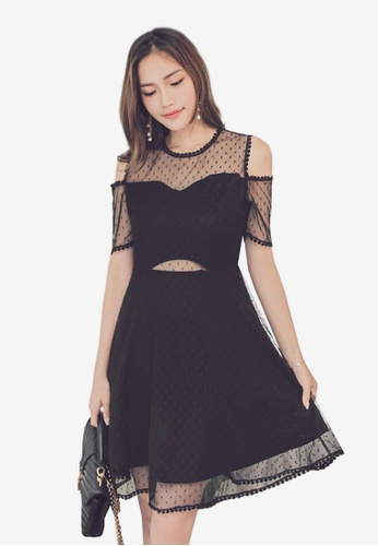 Yoco black Cold Shoulder Lace Dress 92979AABE577A9GS_1