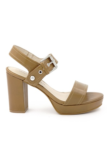 OSCAR & MAYA brown IRIA 10cm High-heel Strappy Platform Sandals OS304SH07GLKHK_1