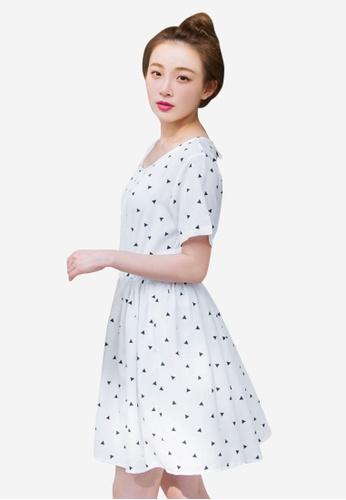 Sesura white Geo Overload Cute Dress 352EFAA6FB67ABGS_1