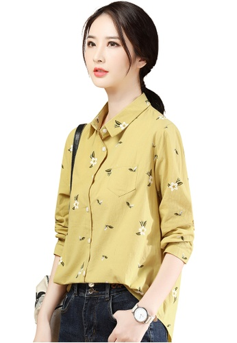 A-IN GIRLS yellow Fashion Loose Print Shirt 7D9FFAA0F9DE4CGS_1