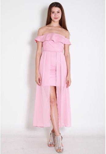Leline Style pink Mila OffShoulder Dress LE802AA0FJEJSG_1