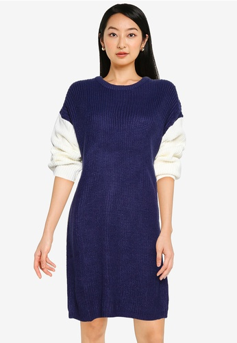 ZALORA BASICS multi Colourblock Knitted Dress 02ADDAA7C2B574GS_1