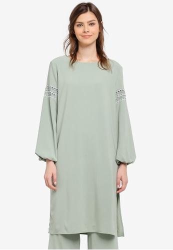 Zalia green Lace Trim Long Top 7197BAACE67A57GS_1
