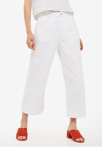 TOPSHOP white Moto Cropped Wide Leg Jeans TO412AA0RV6JMY_1