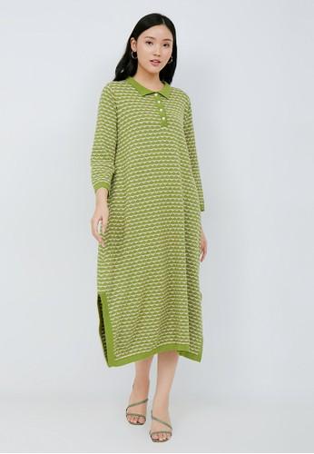 Nona green Peony Knit Dress Avocado - Nona x Peony and Herself 00D90AAD4E932FGS_1