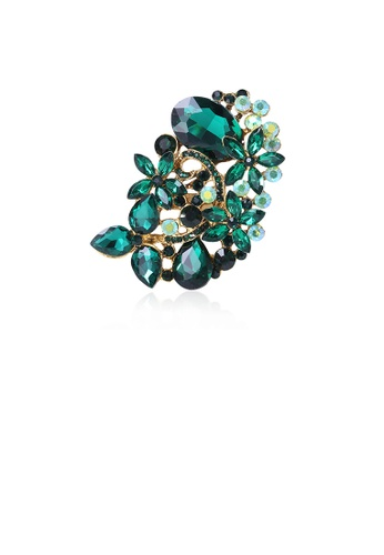 Glamorousky green Fashion and Elegant Plated Gold Flower Brooch with Green Cubic Zirconia 17F20AC35BE28BGS_1