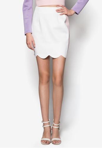 拼色扇貝邊zalora 順豐飾短裙, 服飾, 迷你裙