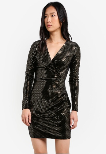 River Island black Long Sleeve Brooke Mirror Metallic Bodycon Dress RI009AA0SCTXMY_1