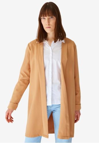Trendyol beige Beige Shawl Collar Jacket 4B545AA5A40585GS_1