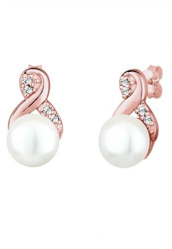 Elli Germany gold 925 Sterling Silver Earring Freshwaterpearl Infinity Swarovski® Rosegold FFB34AC0A968E9GS_1
