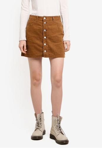 Supre brown Button Through Cord Skirt 7E2F5AA8F7FE62GS_1