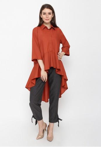 REE orange Chic Long Drapery Shirt - Orange 9D24CAA5A9300FGS_1