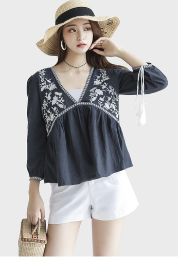 Shopsfashion navy Embroidery V Necked Blouse  5CC81AAA24A60FGS_1