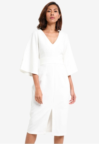 CLOSET white V-Neck Flared Sleeve Dress 52DB9AA8B87A35GS_1