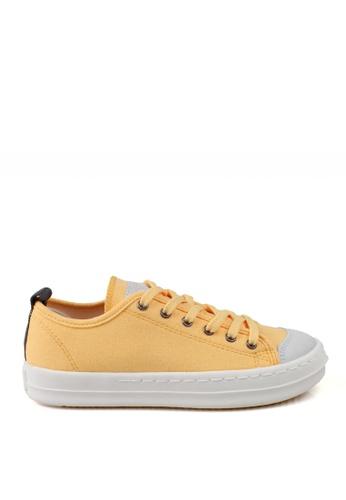 J.DAUL 黃色 經典厚底真皮帆布休閒鞋 JD556SH09Q55TW_1