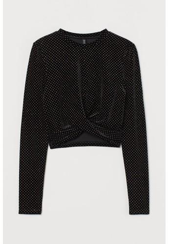 H&M black Glittery top 5E734AAADF83D7GS_1
