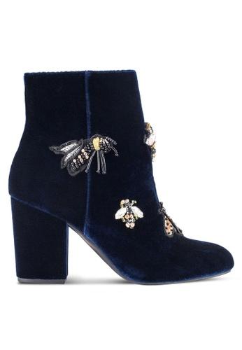 ZALORA navy Bee Velvet Boots 70006ZZC9400A8GS_1