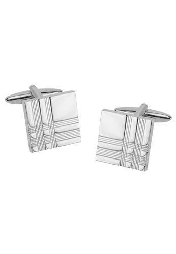 CUFF IT silver Silver Tartan Square Cufflinks CU047AC2UXSHHK_1
