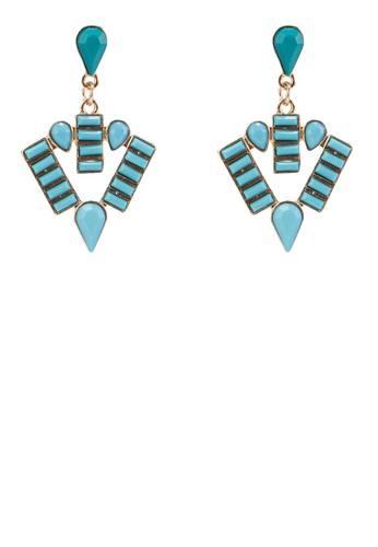 復古esprit門市地址風幾何排列垂墜耳環, 飾品配件, 耳釘