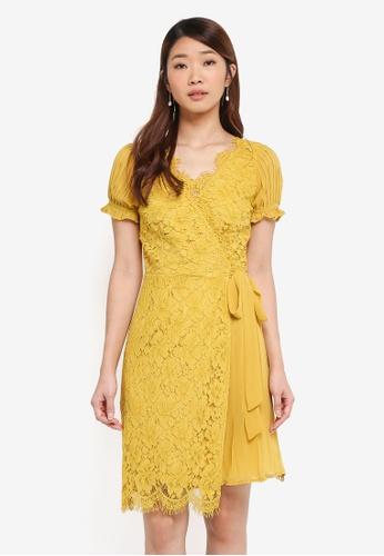 Little Mistress yellow Lace Chiffon Mini Dress 135C0AACCFA28FGS_1