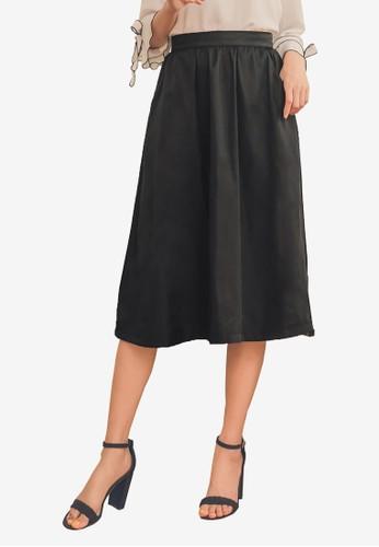 Yoco black Box Pleated Midi Skirt with Pockets AB379AAC7C8FE9GS_1